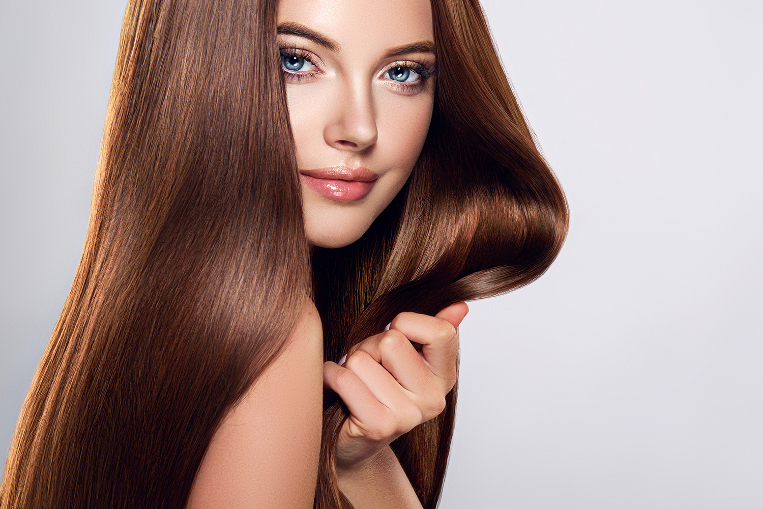 straight sleek smooth brown hair extensions