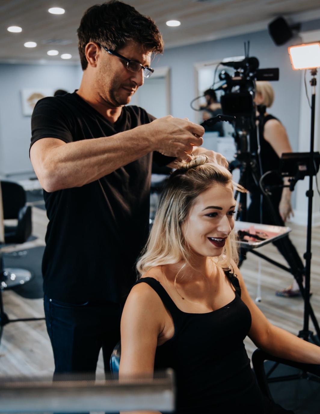 bernard ory installing custom hair extensions
